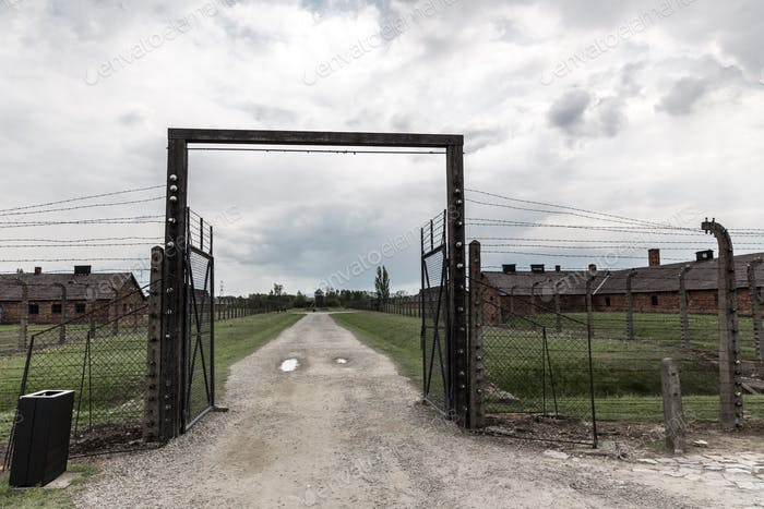 Gates and barbed wire fence, Auschwitz II
