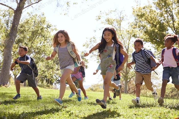 Multi-ethnic group of schoolchildren running in the park