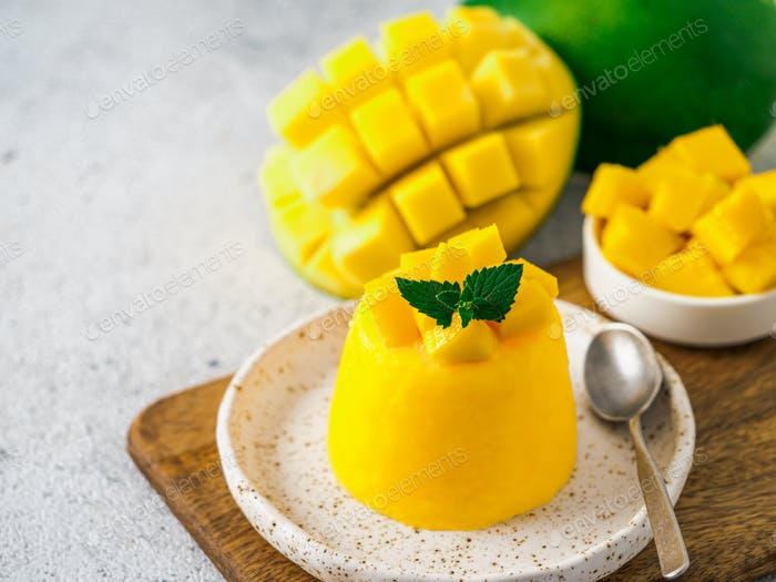 Mango Mousse on gray background, copy space