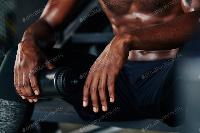 Man resting after intense training