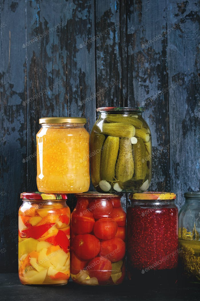 Variety of pickled vegetables