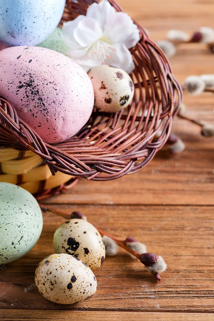 Congratulation Easter card from basket with handmade painted chicken and quail eggs on a wooden
