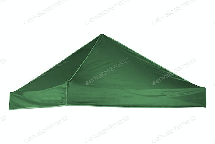 green tourist tent isolated on white