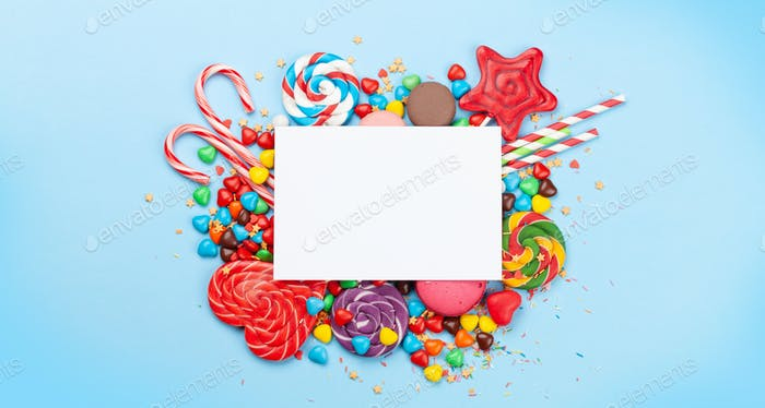 Various sweets assortment and greeting card