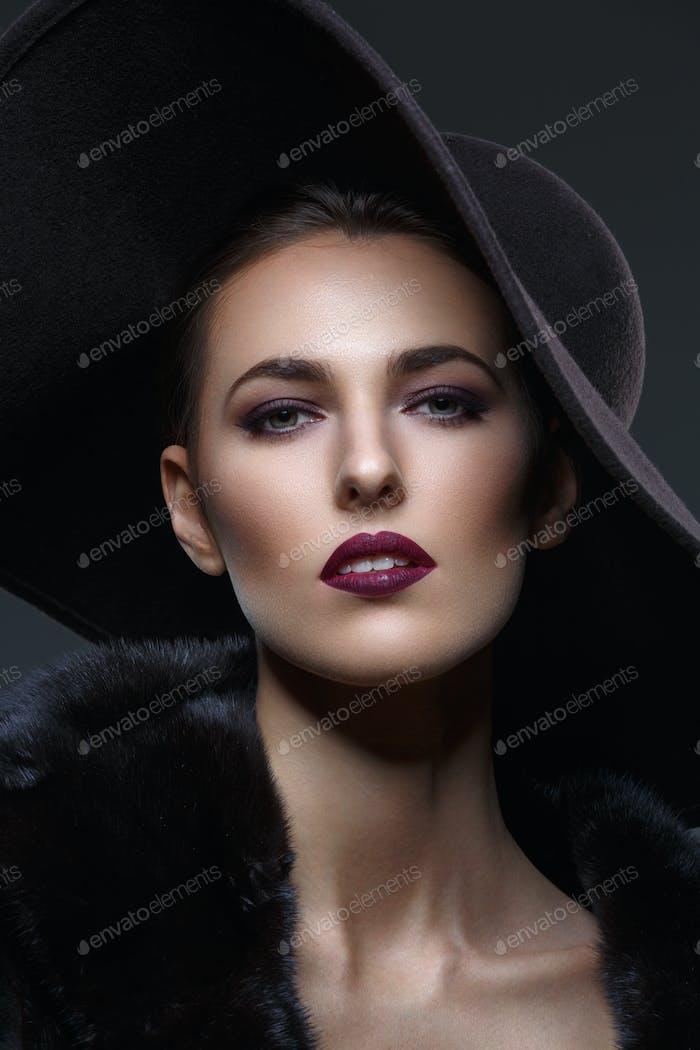 Thumbnail for Beautiful girl in fur coat and hat