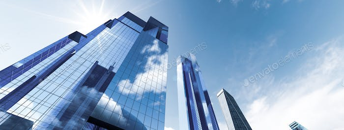 Skyscrapers in city financial and business district, downtown