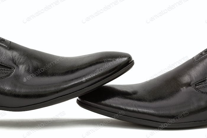 Thumbnail for Men's classic black leather shoes, isolated on white background