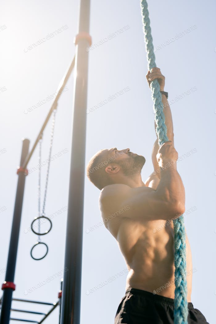 Climbing rope outdoors