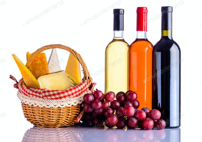 Red, Rose and White Wine with Cheese