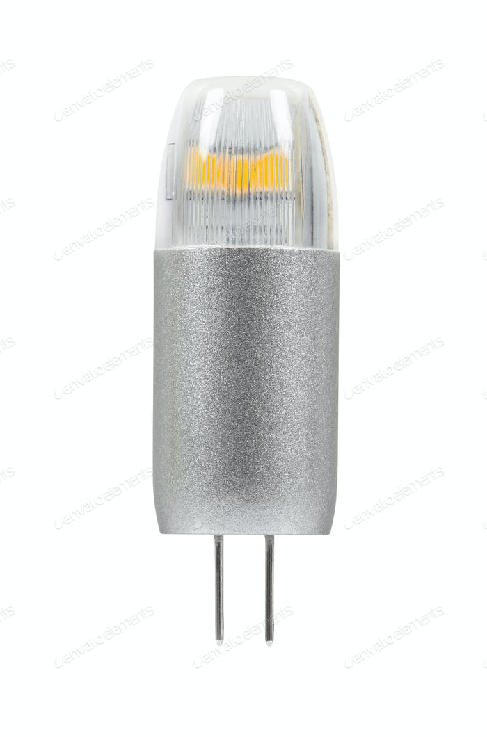 Modern G4 led bulb on white background