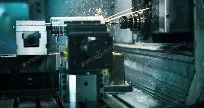 machine tool in metal factory with drilling cnc machines