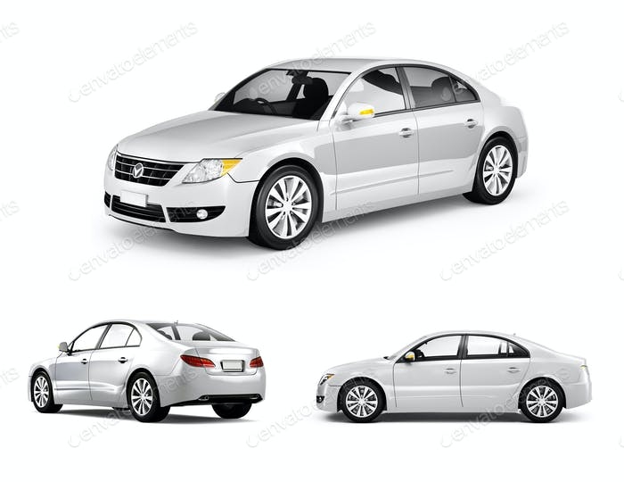 Three Dimensional Image of White Car