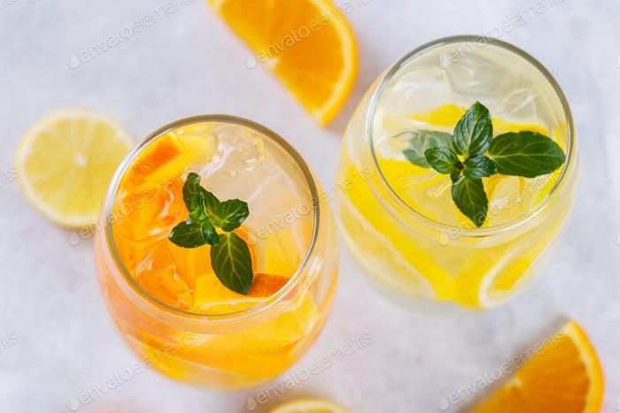Orange and lemon infused water