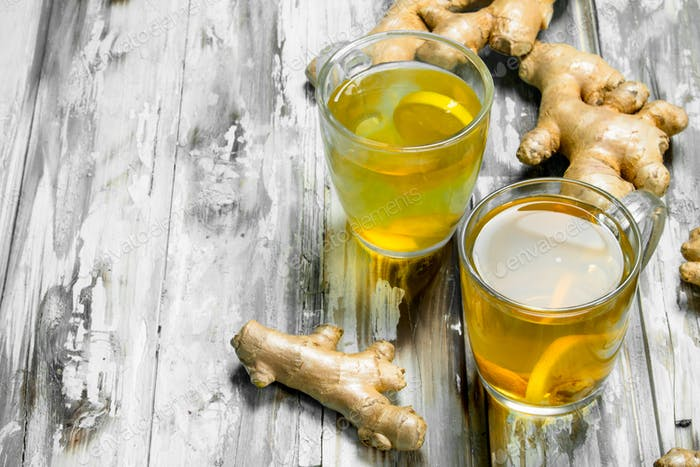 Ginger tea and fresh ginger.