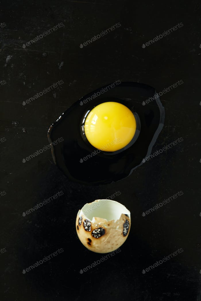 Quail egg on black rusty background