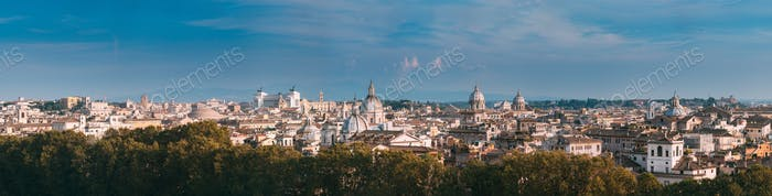 Rome, Italy. Cityscape Skyline With Pantheon, Altar Of The Fathe