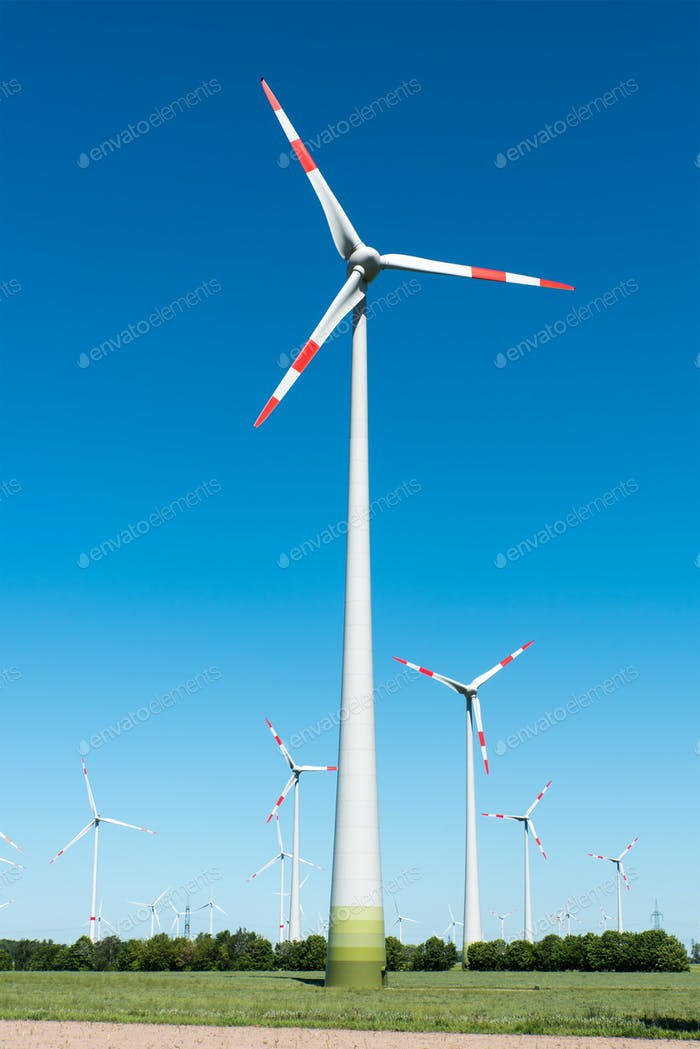Modern wind power plants in Germany