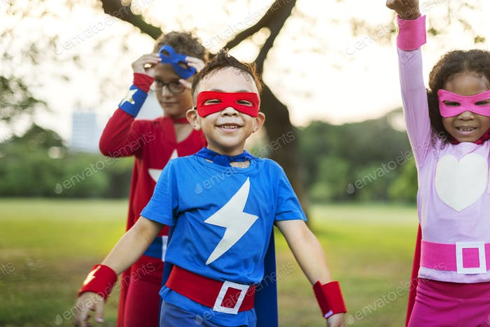 Superheroes Cheerful Kids Expressing Positivity Concept