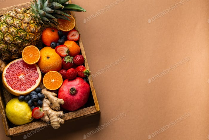 Selection of fresh fruit with vitamin C