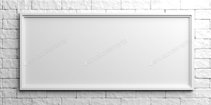 White frame on white brick background. 3d illustration photo by ...