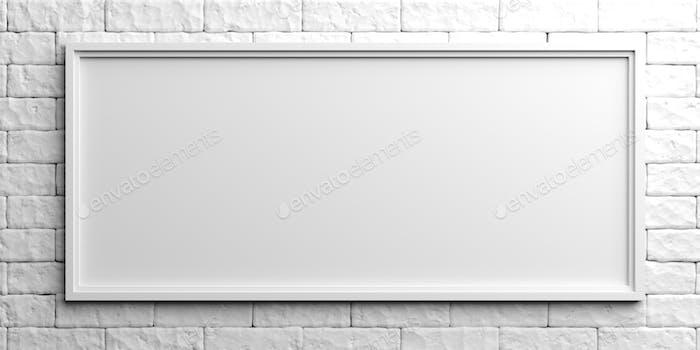 White frame on white brick background. 3d illustration