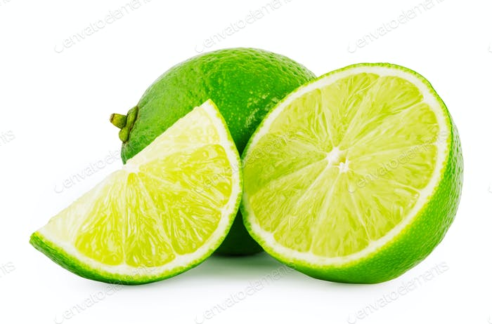 The whole and pieces of lime