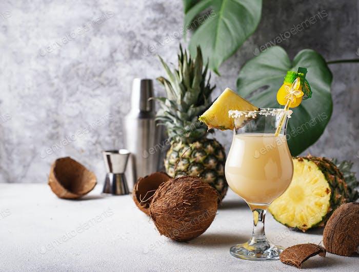Pina colada. Traditional Caribbean cocktail