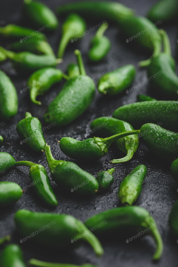 Jalapeno Peppers on Concrete Background