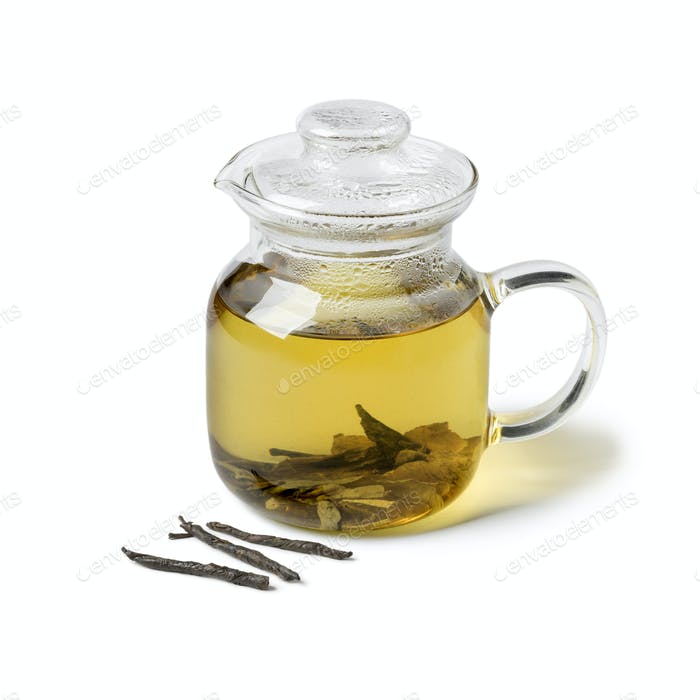 Glass teapot with Chinese Kuding tea