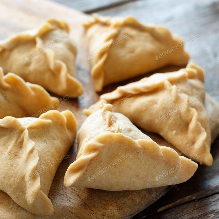 Preparation of dumplings manti