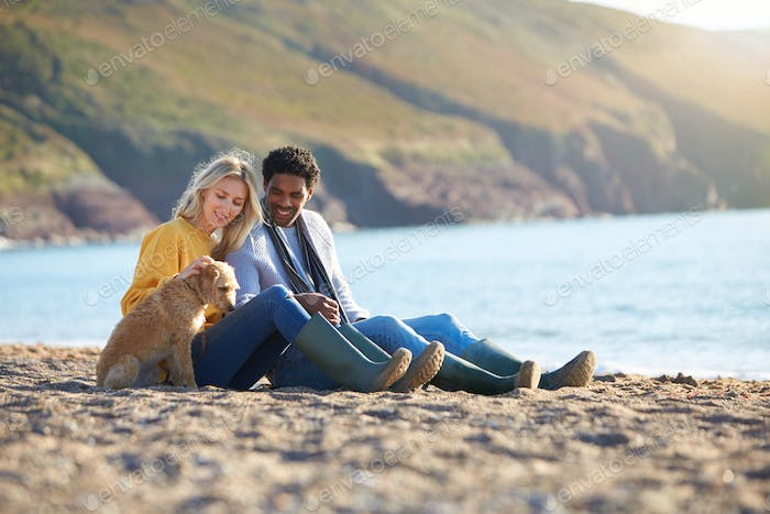 Loving Couple Sitting On Sand As They Walk With Dog Along Shoreline On Winter Beach Vacation