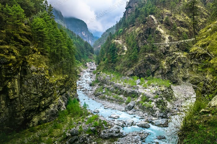 Mountain Canyon Valley. Beautiful river landscape