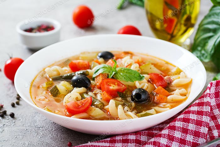Minestrone, italian vegetable soup with pasta. Vegan food