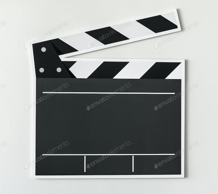 Black and white clapper board icon