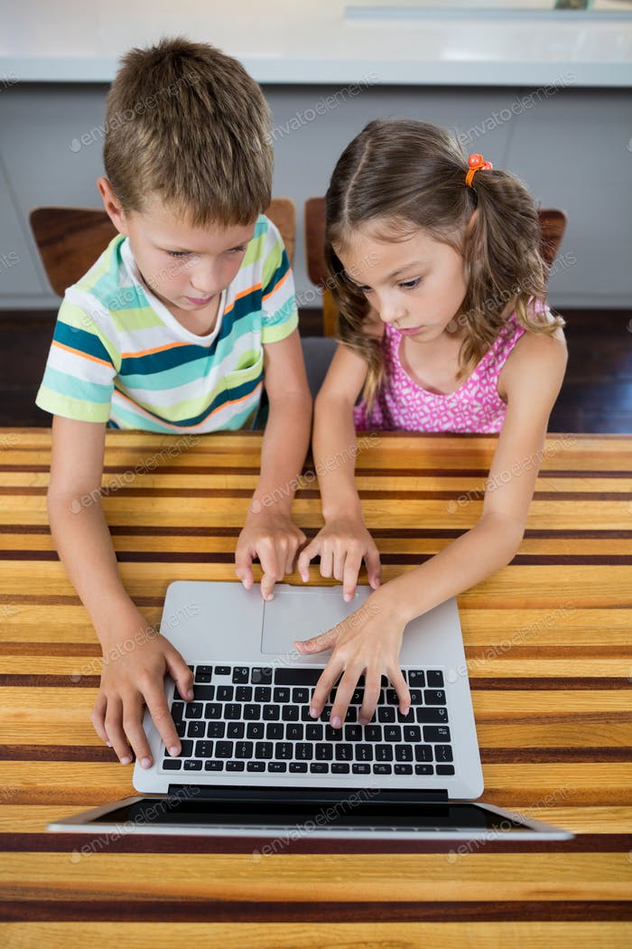 Siblings using laptop in kitchen