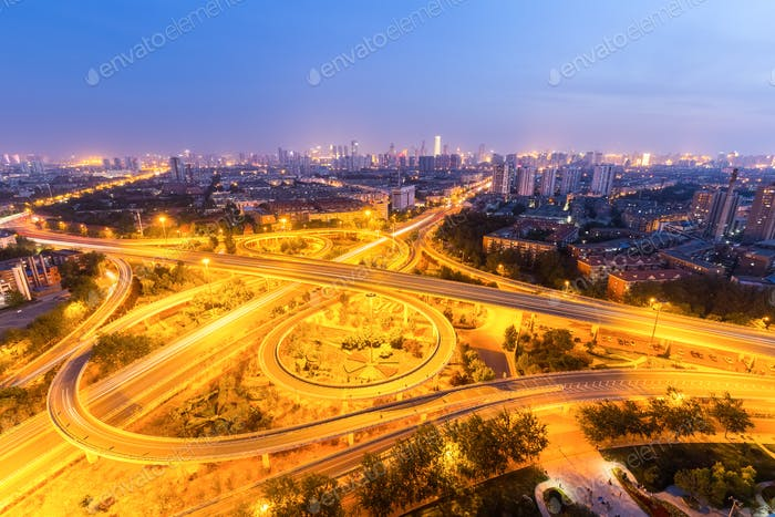 overpass in tianjin at night
