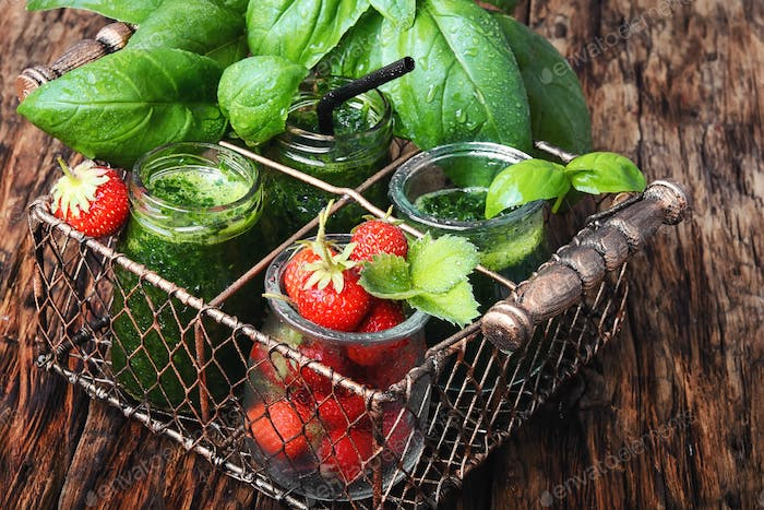 healthy green smoothie with basil