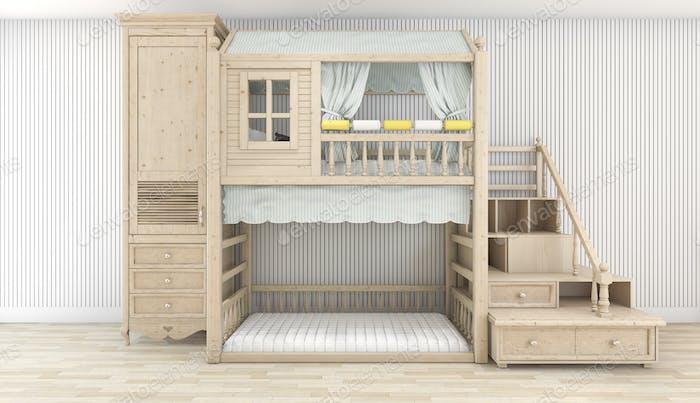 3d rendering white nice wood kid room