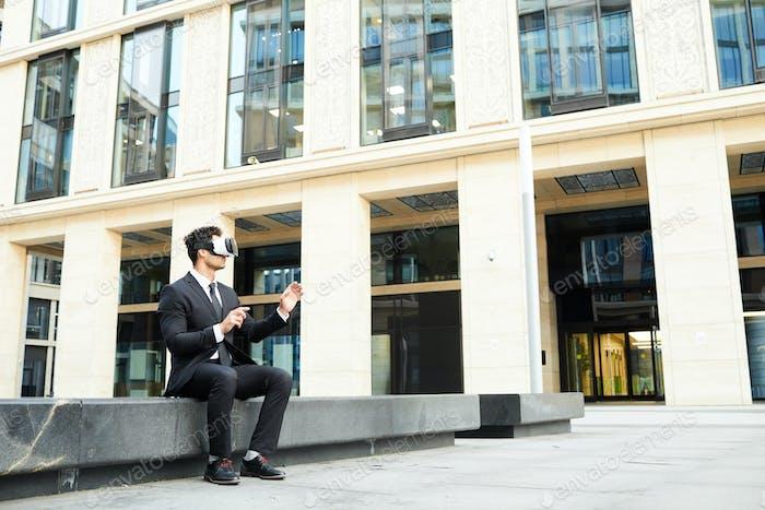 Businessman has a virtual communication