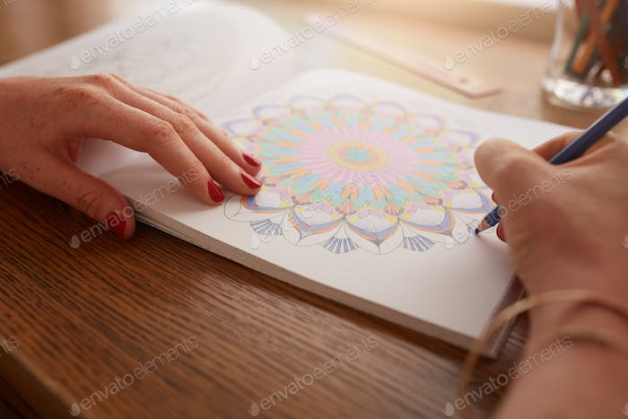 adult; adult coloring; anti; book; books; coloring; colouring; in; stress; table; view; woman; zen