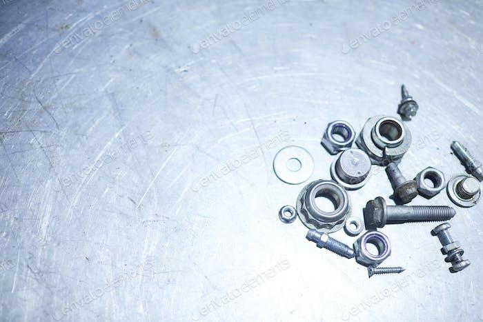 Edelstahl-Details auf Metalloberfläche