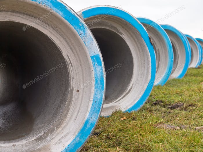 Row of concrete construction pipes