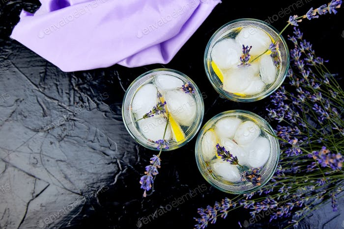 Lavender lemonade with lemon and ice
