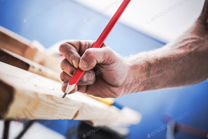 Passionate Carpenter at Work