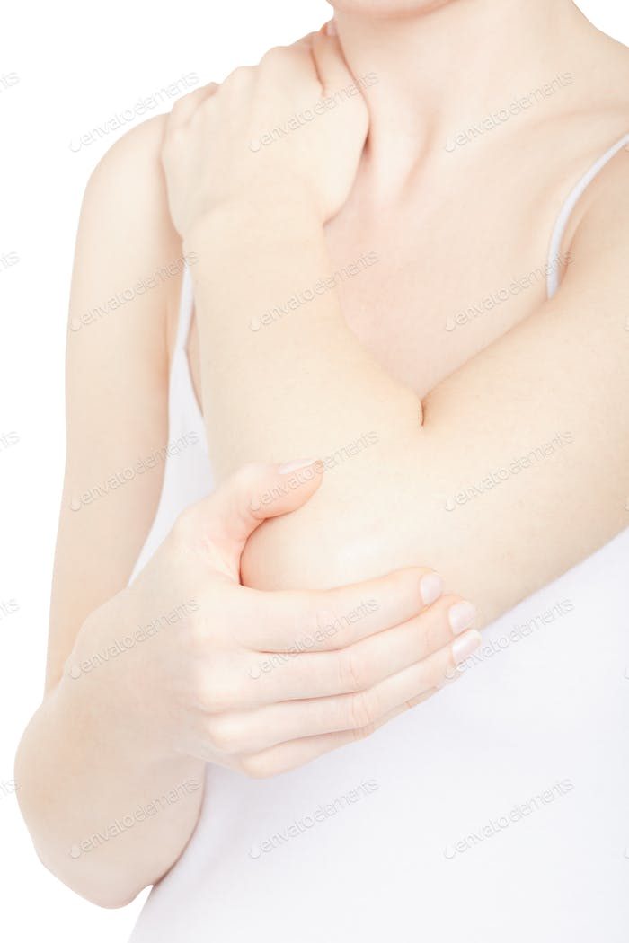 Woman holding elbow and shoulder in pain isolated on white, clip