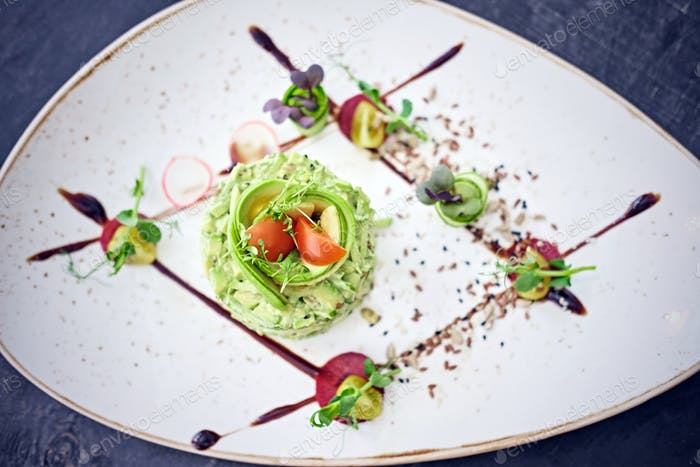 Gourmet fresh salad with chocolate.