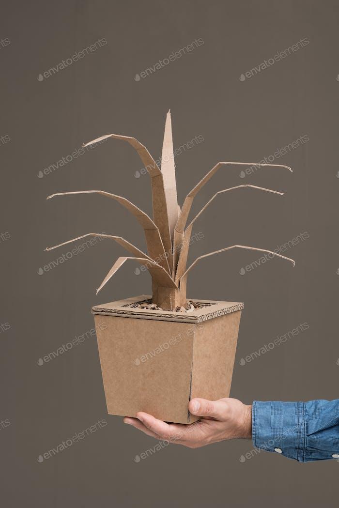 Decorative plant made of cardboard