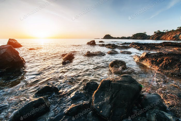 Fantastic panoramic view of the rocky coast