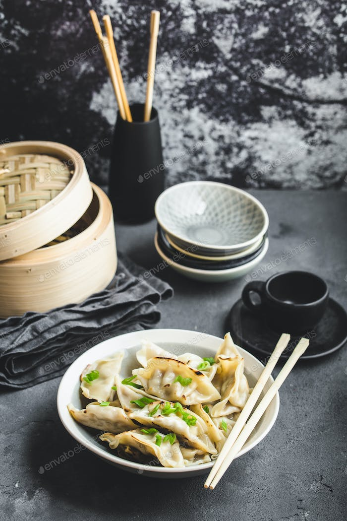 Asian dumplings in bowl