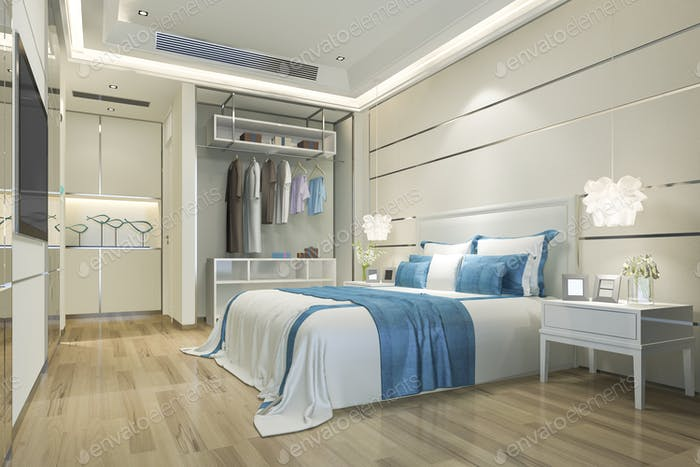 3d rendering luxury minimal blue bedroom suite in hotel with wardrobe and walk in closet